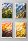 Brochure with Multicolored Polygonal Backgrounds Stock Images