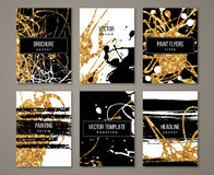 Brochure with pastel strokes and gold paint Royalty Free Stock Image