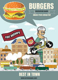 Brochure or poster Restaurant fast foods burger menu with man to Stock Photography