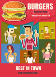 Brochure or poster Restaurant fast foods burger menu with people Stock Photo