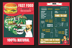 Brochure or poster Restaurant fast foods burger menu with people Stock Images