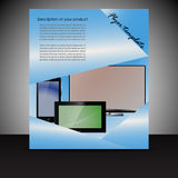 Brochure presentation template with electronic elements Stock Photos