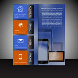 Brochure presentation template with electronic elements Stock Images
