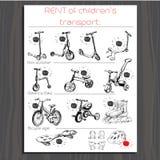 Brochure for Rent children transport, kick scooter, balance bik Stock Photo