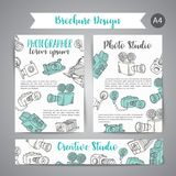 Brochure set with photo and video design in doodle style. Vector Illustration Photography theme for advert. Leaflet, layout Stock Photography