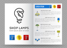 Brochure for shop lamps, lamp icon Royalty Free Stock Photos