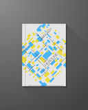 A4 brochure template. Abstract yellow squares and dots. Black connected lines. Brochure template with heading Royalty Free Stock Image