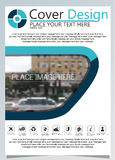 Brochure template for annual technology related reposts, design a4 layout with space for text and photos blue ten Stock Photo