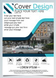 Brochure template for annual technology related reposts,vector design a4 layout with space for text and photos blue five Royalty Free Stock Photo