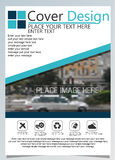Brochure template for annual technology related reposts,vector design a4 layout with space for text and photos blue nine Royalty Free Stock Images