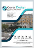 Brochure template for annual technology related reposts,vector design a4 layout with space for text and photos blue one Stock Images
