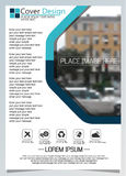 Brochure template for annual technology related reposts,vector design a4 layout with space for text and photos blue three Stock Photo
