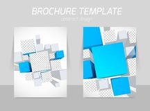 Brochure template with blue squares Royalty Free Stock Image