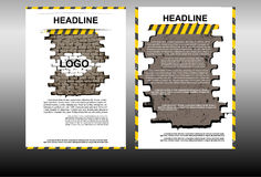 Brochure template with a brick wall construction theme Stock Images