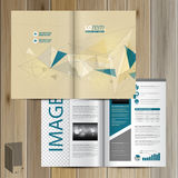 Brochure Template Design. Drawing brochure template design with figures and schemes. Cover layout royalty free illustration
