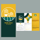Brochure template design. With hand sign Stock Images
