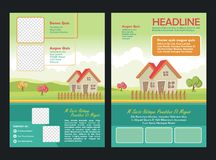 Brochure template design with Lovely cartoon scenery flat design Stock Image