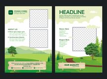 Brochure template design with Lovely cartoon scenery flat design Stock Images