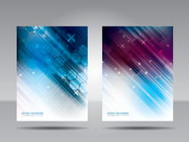 Brochure template, flyer, card or banner of technology and commu Royalty Free Stock Images