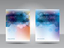 Brochure template, flyer, card or banner of technology and commu Stock Photography