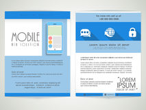 Brochure, Template or Flyer for Mobile Web Solution. Creative professional Brochure, Template or Flyer presentation with smartphone for Mobile Web Solution Stock Image