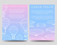Brochure template with hot air balloons Stock Images