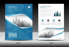 Brochure template layout, Blue cover design annual report Stock Photo