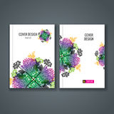 Brochure template layout, cover design of annual report, book, magazine Stock Photos