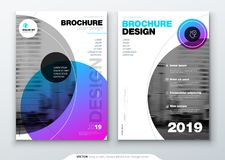 Brochure template layout, cover design annual report, magazine, flyer or booklet in A4 with color circle shapes in swiss. Or magna style. Vector Illustration Royalty Free Stock Images