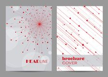 Brochure template layout design. Abstract geometric background with connected lines and dots.  stock illustration