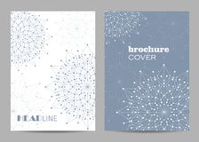 Brochure template layout design. Abstract geometric background with connected lines and dots royalty free stock image