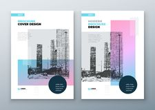 Brochure template layout design. Corporate business annual report, catalog, magazine, brochure, flyer mockup. Creative. Modern bright concept in memphis style stock illustration