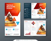 Brochure template layout design. Corporate business annual report, catalog, magazine, flyer mockup. Creative modern. Bright concept triangle shape royalty free illustration