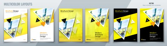 Brochure template layout design with triangles. Corporate business annual report, catalog, magazine, flyer mockup. Creative modern bright concept triangle stock illustration