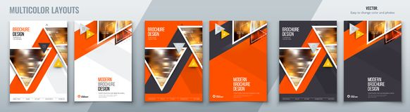 Brochure template layout design with triangles. Corporate business annual report, catalog, magazine, flyer mockup. Creative modern bright concept triangle royalty free illustration