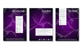Brochure template layout, flyer, cover, annual report, magazine in A4 size. Structure of molecular particles and atom. Polygonal abstract background. Vector stock illustration