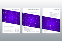 Brochure template layout, flyer, cover, annual report, magazine in A4 size. Structure of molecular particles and atom. Polygonal abstract background. Vector Stock Photography