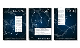 Brochure template layout, flyer, cover, annual report, magazine in A4 size.. Structure of molecular particles and atom. Polygonal abstract background. Vector Stock Photos