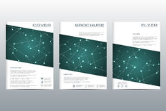 Brochure template layout, flyer, cover, annual report, magazine in A4 size. Structure of molecular particles and atom. Polygonal abstract background. Vector vector illustration