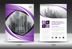 Brochure template layout, Purple cover design, annual report Stock Images