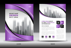 Brochure template layout, Purple cover design, annual report Royalty Free Stock Images