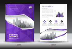 Brochure template layout, Purple cover design annual report Royalty Free Stock Photography