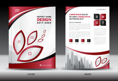 Brochure template layout, Red cover design, annual report Royalty Free Stock Image