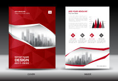 Brochure template layout, Red cover design annual report Stock Photography