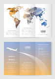 Brochure template size A4 3 Fold 2 Side low polygon world map orange and blue color. Airplane illustration on sunset background, white and gray text layout Stock Photo