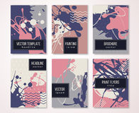 Brochure template with strokes and paint drips vector illustration
