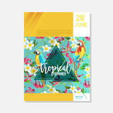 Brochure Template. Tropical Flowers and Parrots Summer Graphic Background, Exotic Floral Banner, Invitation, Flyer or Card Stock Photography