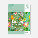 Brochure Template. Tropical Palms Summer Graphic Background, Exotic Floral Banner, Invitation, Flyer or Card. Modern Front Page. In Vector Stock Photo
