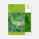 Brochure Template. Tropical Palms Summer Graphic Background, Exotic Floral Banner, Invitation, Flyer or Card. Modern Front Page Royalty Free Stock Images