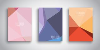 Brochure templates with abstract low poly designs Royalty Free Stock Photo